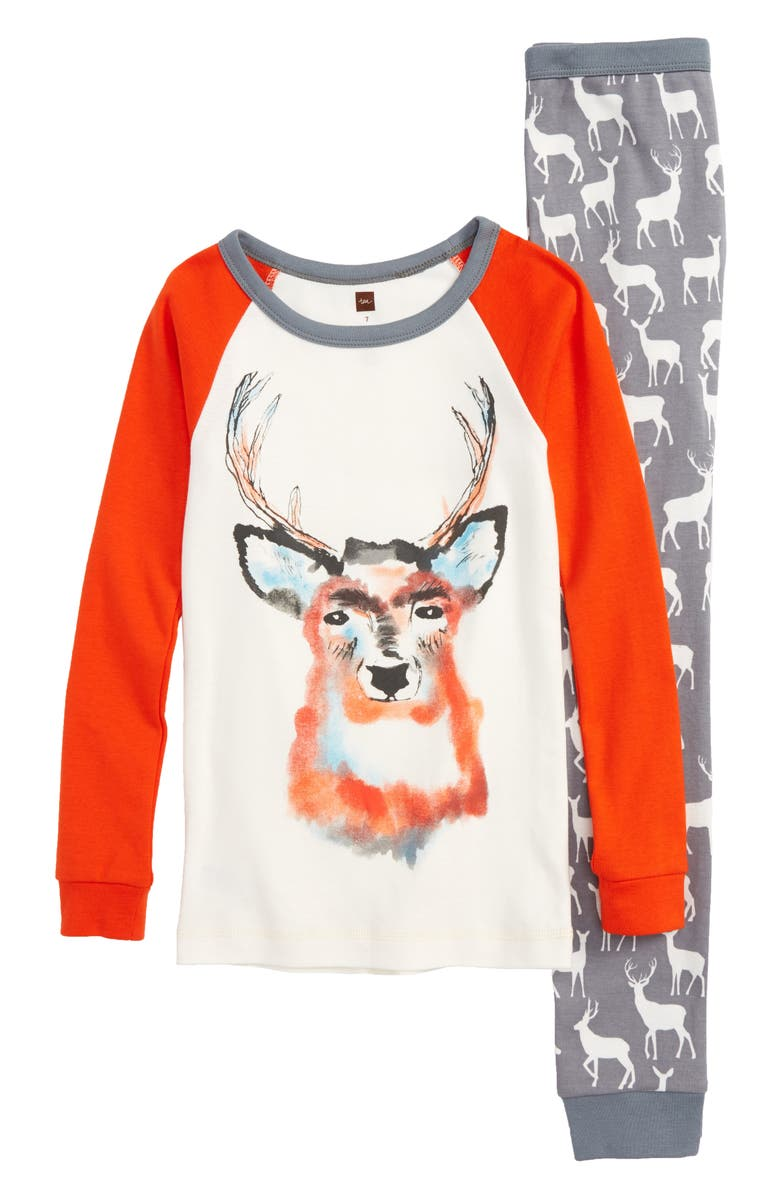 TEA COLLECTION Red Deer Fitted Two-Piece Pajamas, Main, color, RAIN CLOUD