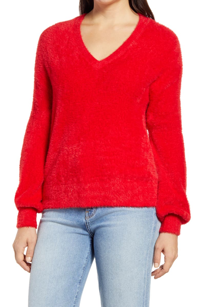HALOGEN<SUP>®</SUP> Fuzzy V-Neck Sweater, Main, color, RED CHINOISE