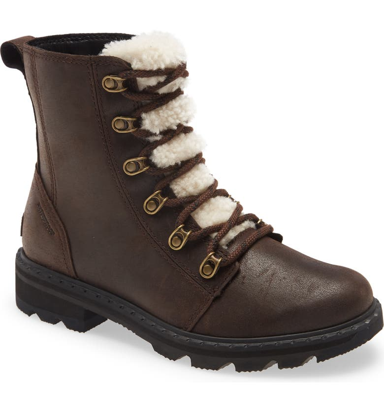 SOREL Lennox Lace-Up Boot with Genuine Shearling Trim, Main, color, BLACKENED BROWN LEATHER
