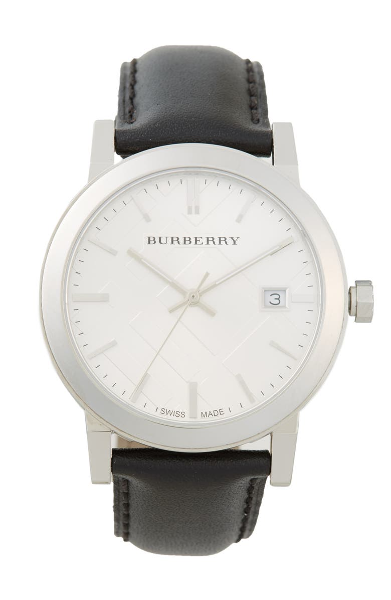 BURBERRY Check Stamped Round Dial Watch, 38mm, Main, color, 001
