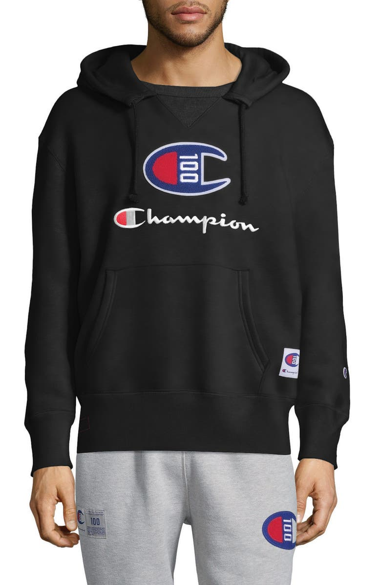 CHAMPION Century Collection Logo Pullover Hoodie, Main, color, 001