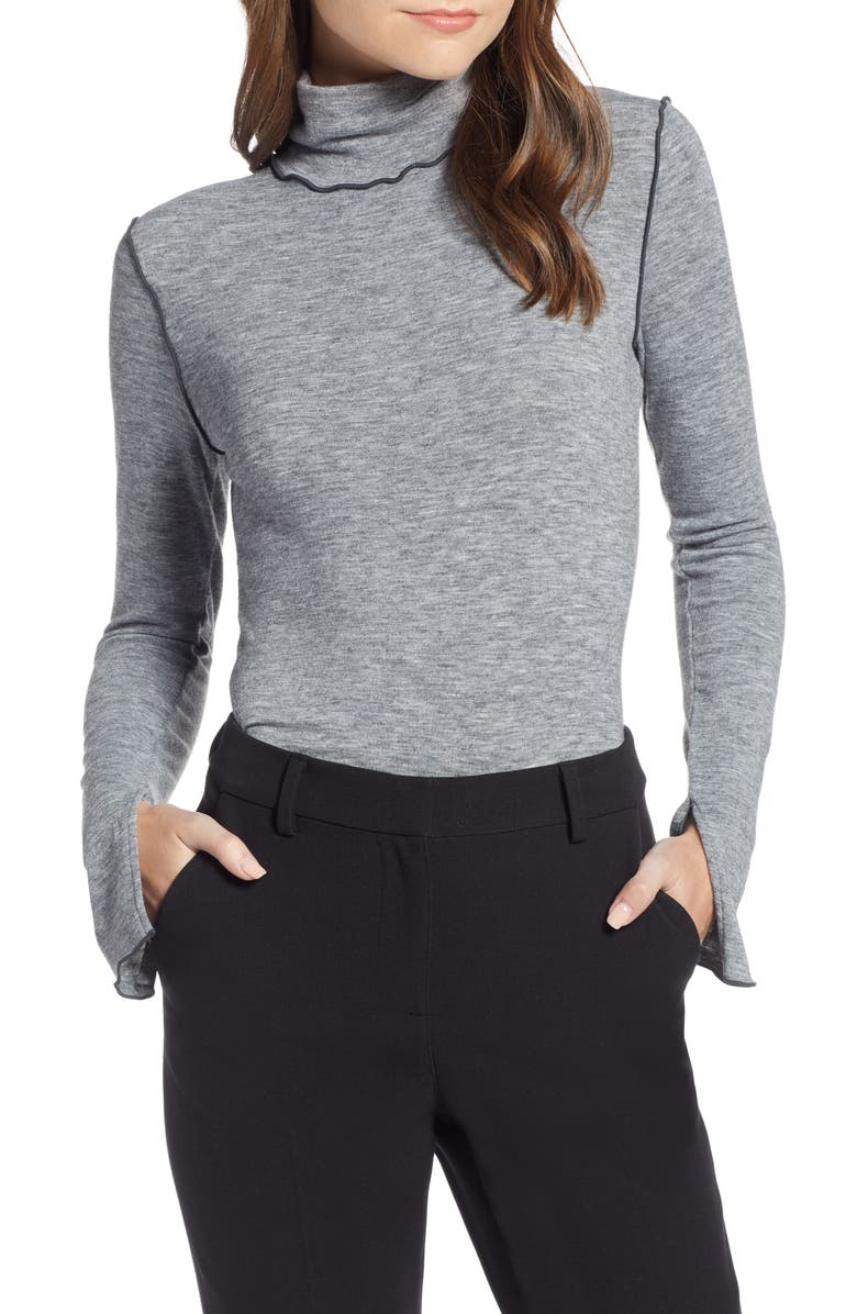 SOMETHING NAVY Contrast Stitch Mock Neck Top, Main, color, 030