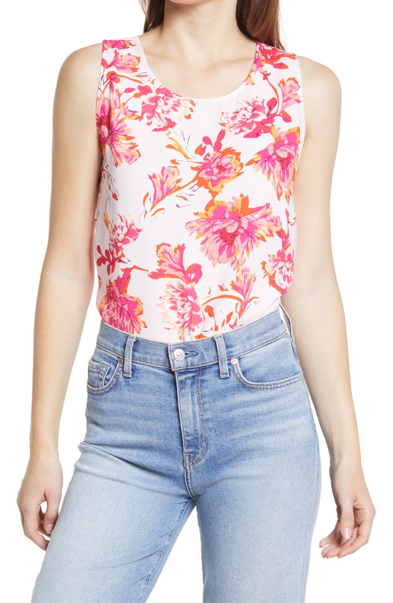 HALOGEN<SUP>®</SUP> Scoop Neck Woven Shell, Main, color, PINK SHEER MEADOW FLORAL