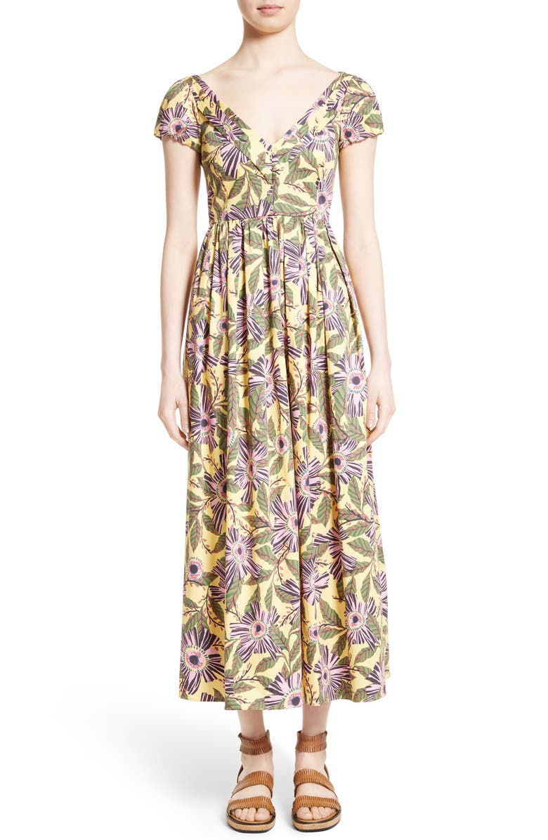 RED VALENTINO Floral Print Stretch Poplin Dress, Main, color, 703