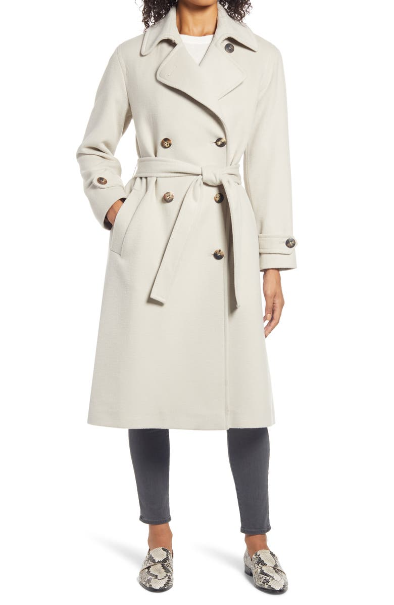 FLEURETTE Wool Double Breasted Trench Coat, Main, color, SHALE