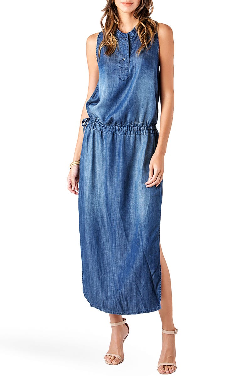 STANDARDS & PRACTICES Makalya Chambray Maxi Dress, Main, color, 410