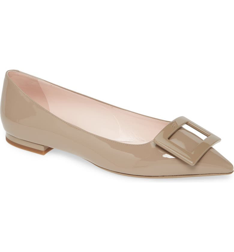 ROGER VIVIER Gommettine Buckle Pointed Toe Flat, Main, color, CEMENT GREY