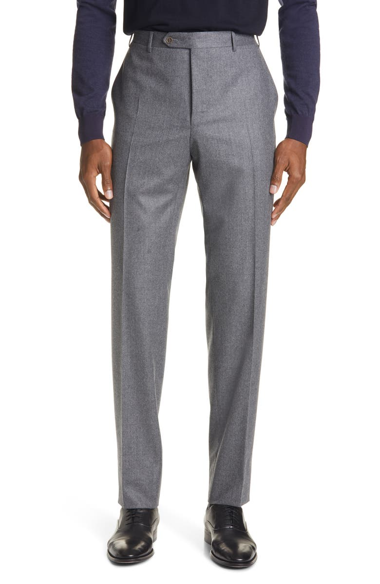 CANALI Flat Front Solid Flannel Wool Dress Pants, Main, color, GREY