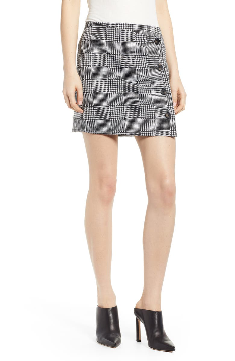 LOVE, FIRE Houndstooth Check Button Wrap Skirt, Main, color, 001