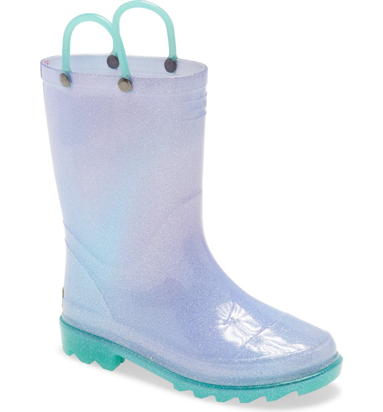 WESTERN CHIEF Glitter Ombré Light-Up Waterproof Rain Boot, Main, color, TEAL