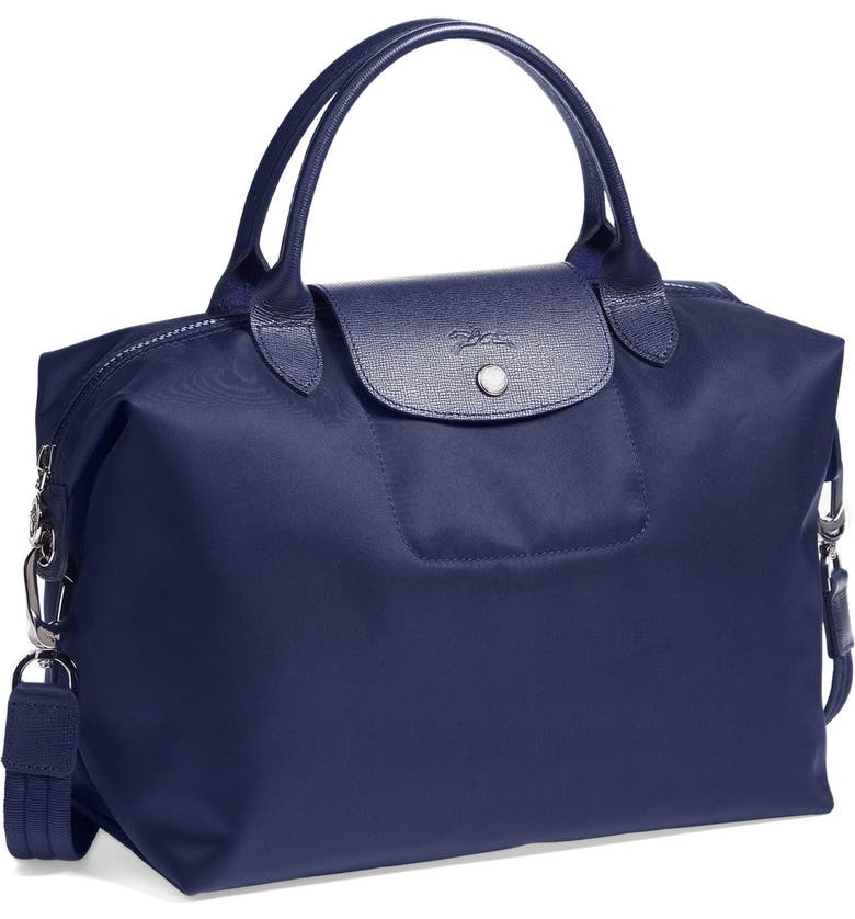 LONGCHAMP 'Medium Le Pliage Neo' Nylon Top Handle Tote, Main, color, NAVY