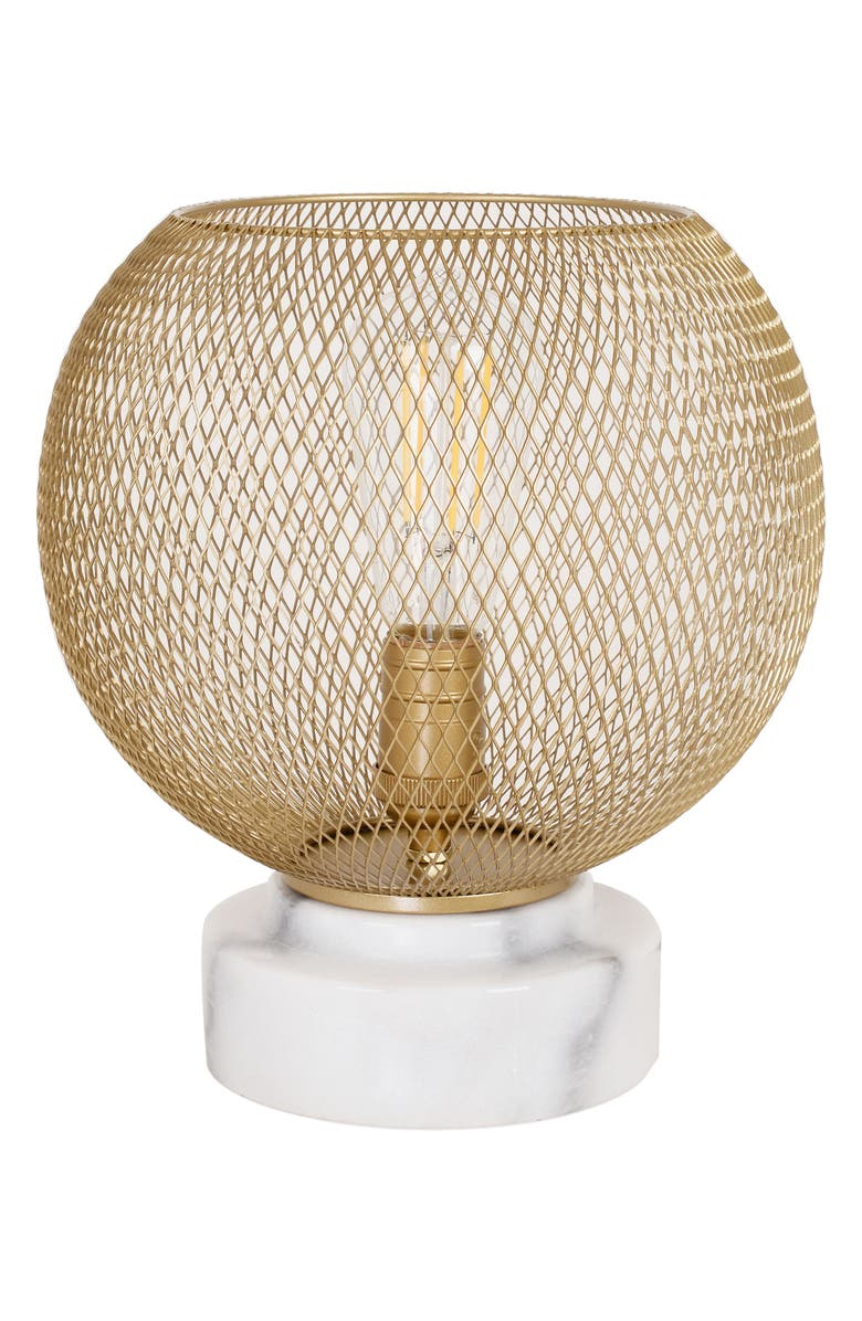 CUPCAKES AND CASHMERE Mesh & Marble Uplight Lamp, Main, color, METALLIC GOLD
