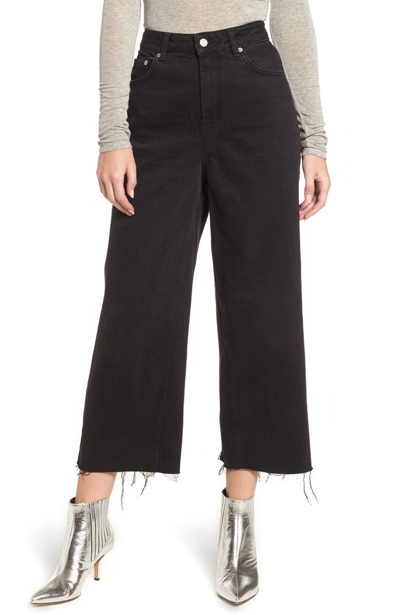TOPSHOP High Waist Wide Leg Crop Jeans, Main, color, 003