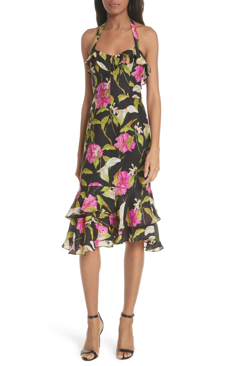 MILLY Large Calla Lily Silk Halter Dress, Main, color, 004
