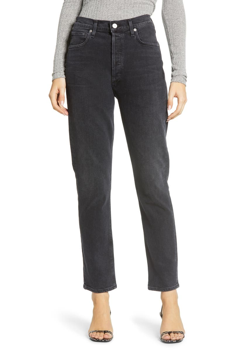 CITIZENS OF HUMANITY High Waist Straight Leg Jeans, Main, color, 015