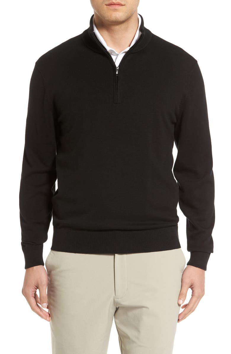 CUTTER & BUCK Lakemont Half Zip Sweater, Main, color, BLACK