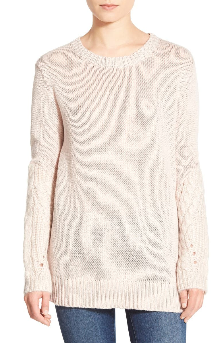 LEITH Cable Sleeve Sweater Tunic, Main, color, PINK HUSH