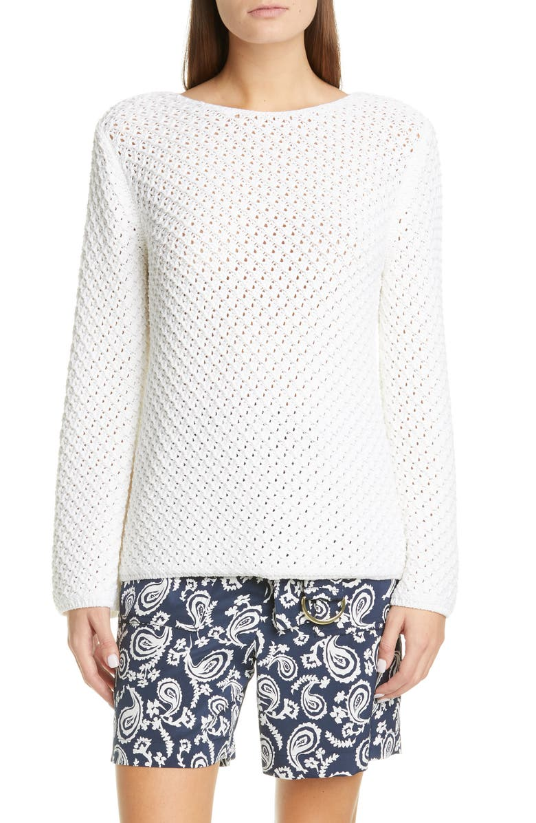 ST. JOHN COLLECTION Bell Sleeve Basketweave Knit Sweater, Main, color, 100