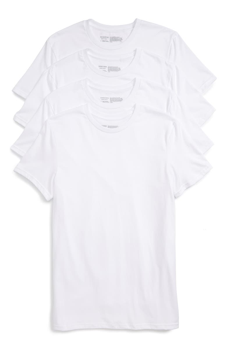 NORDSTROM 4-Pack Trim Fit Supima<sup>®</sup> Cotton Crewneck T-Shirt, Main, color, WHITE
