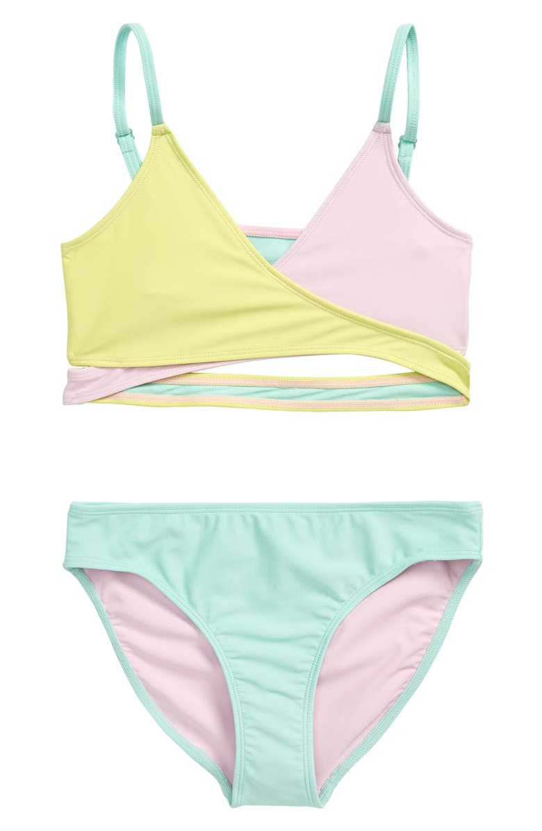 TREASURE & BOND Two-Piece Swimsuit, Main, color, PINK OPAL- YELLOW BLOCK