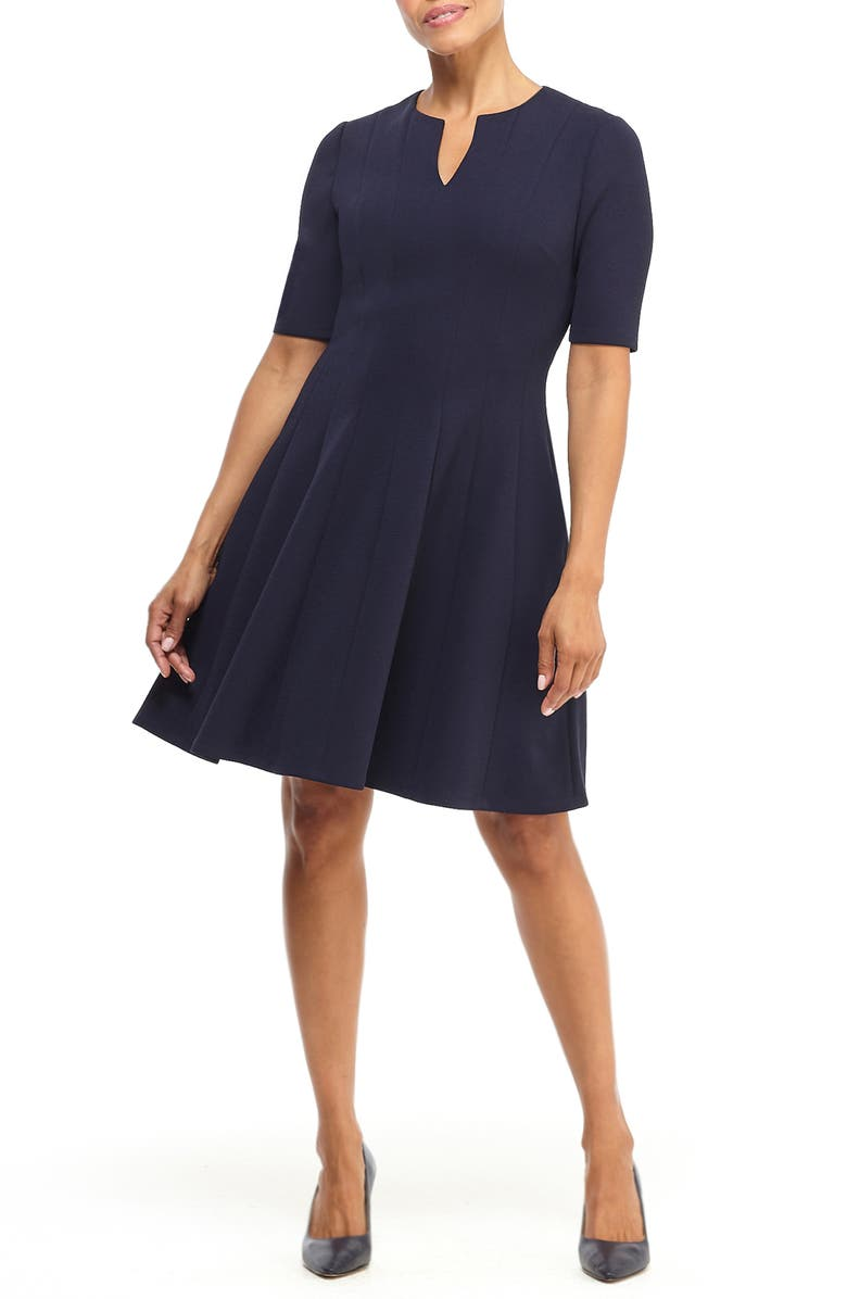 MAGGY LONDON Notch Neck Fit & Flare Dress, Main, color, 410