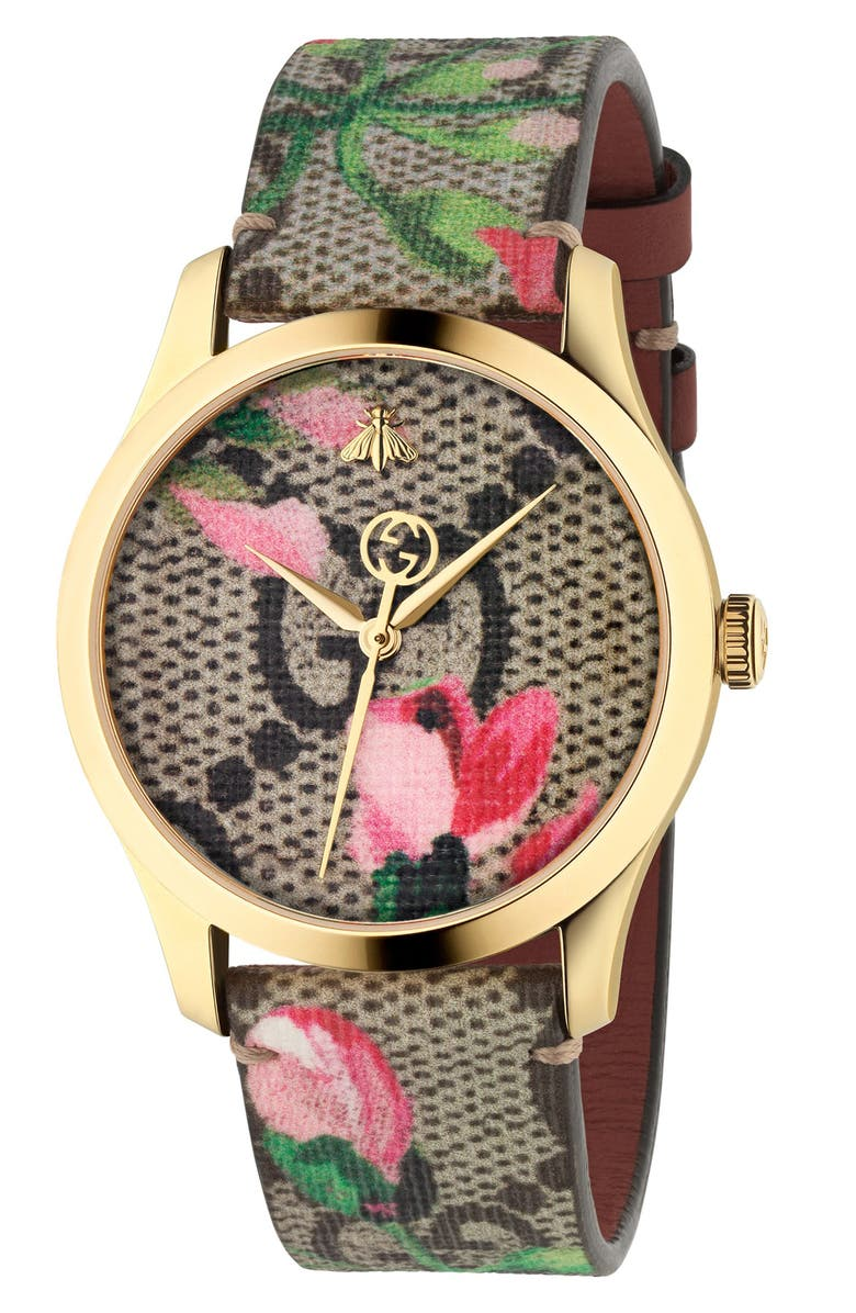 GUCCI G-Timeless Floral Print GG Canvas Strap Watch, 38mm, Main, color, BLOOMS/GOLD