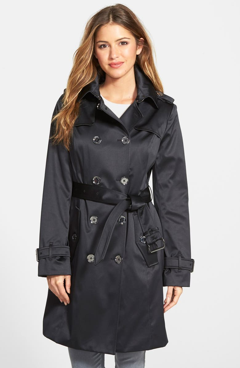 LONDON FOG Heritage Satin Double Breasted Trench Coat, Main, color, BLACK