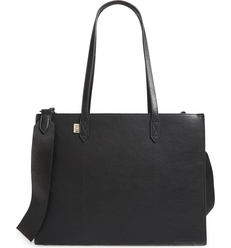 BÉIS Beis Mini Work Faux Leather Tote, Main, color, 001