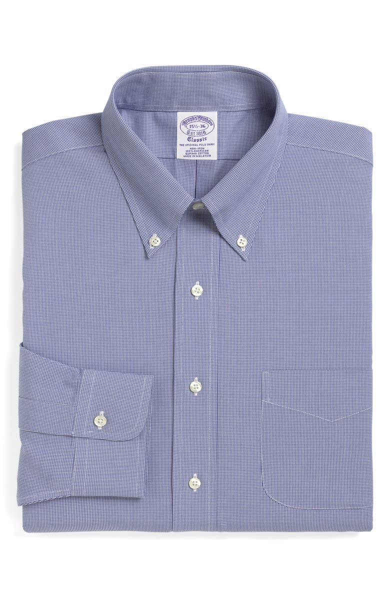 BROOKS BROTHERS Madison Classic Fit Houndstooth Dress Shirt, Main, color, 400