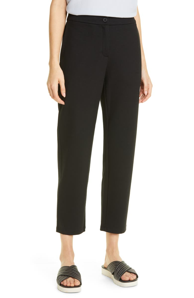 EILEEN FISHER Slouch Ankle Pants, Main, color, BLACK