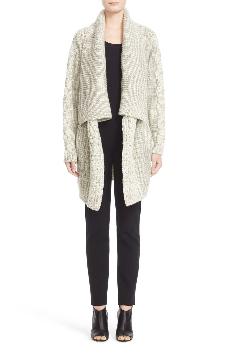 YIGAL AZROUËL Drape Front Merino Wool Blend Cardigan, Main, color, 250