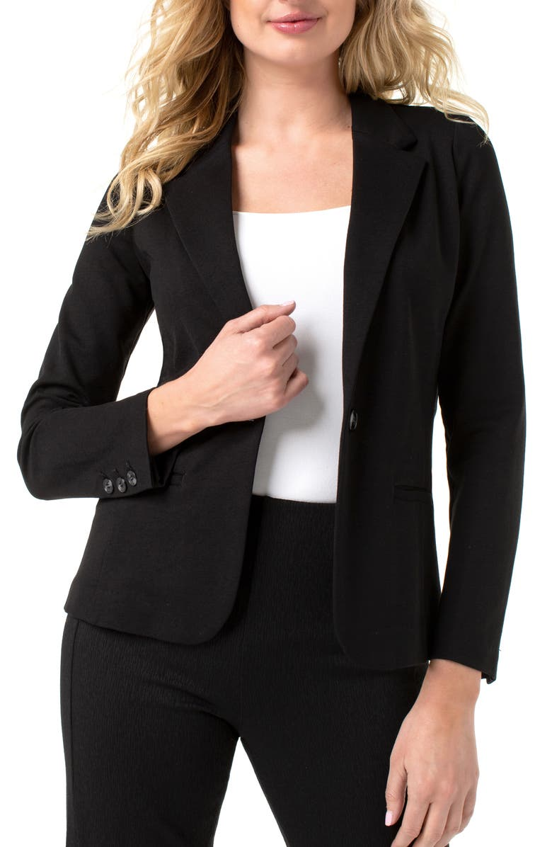 LIVERPOOL Fitted Knit Blazer, Main, color, 001