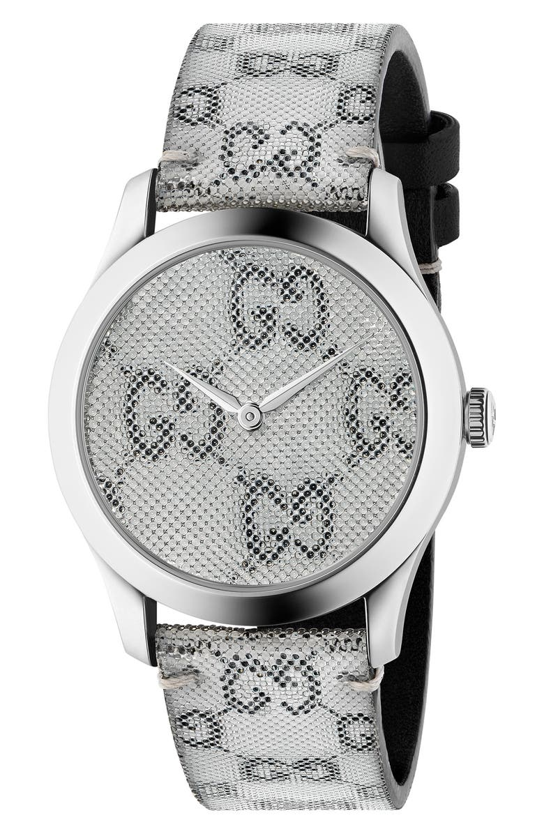 GUCCI G-Timeless Holo Strap Watch, 38mm, Main, color, GREY/ SILVER