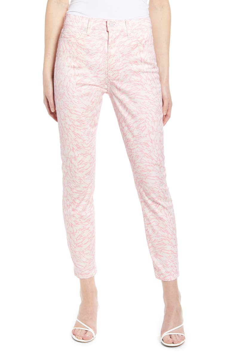 7 FOR ALL MANKIND High Waisted Abstract Skinny Jeans, Main, color, PINK ABSTRACT