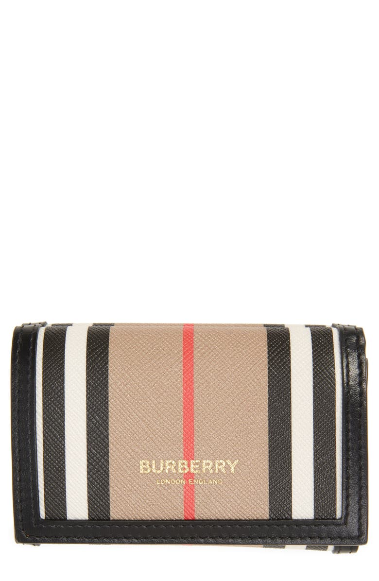 BURBERRY Lark Icon Stripe Trifold Leather Wallet, Main, color, 250