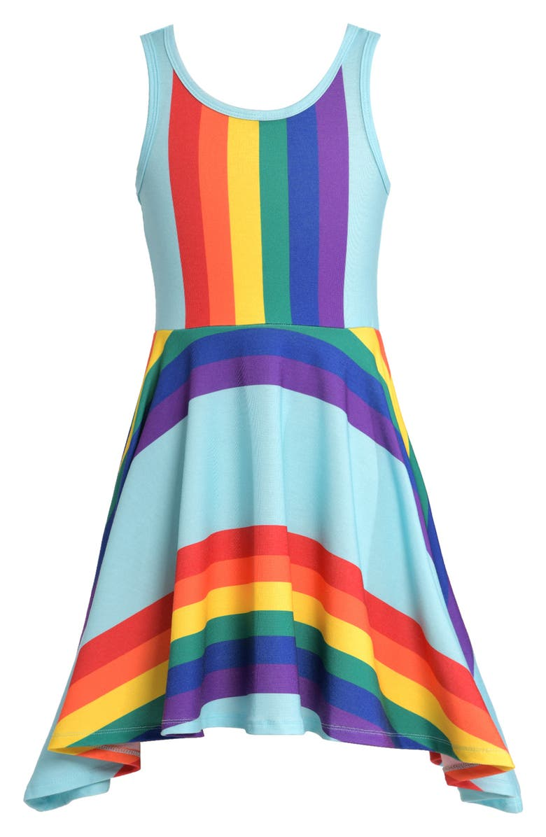 TRULY ME Fit & Flare Rainbow Dress, Main, color, BLUE/MUL