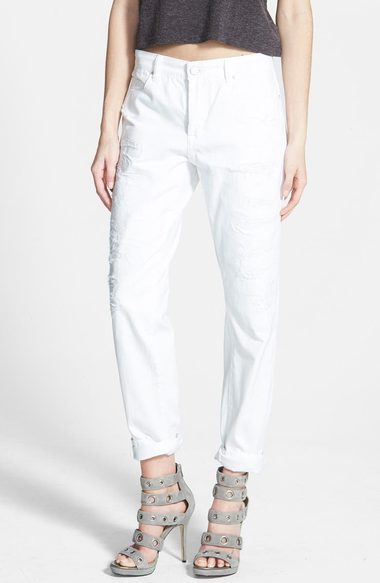 BLANKNYC Destroyed Boyfriend Jeans, Main, color, WHITE