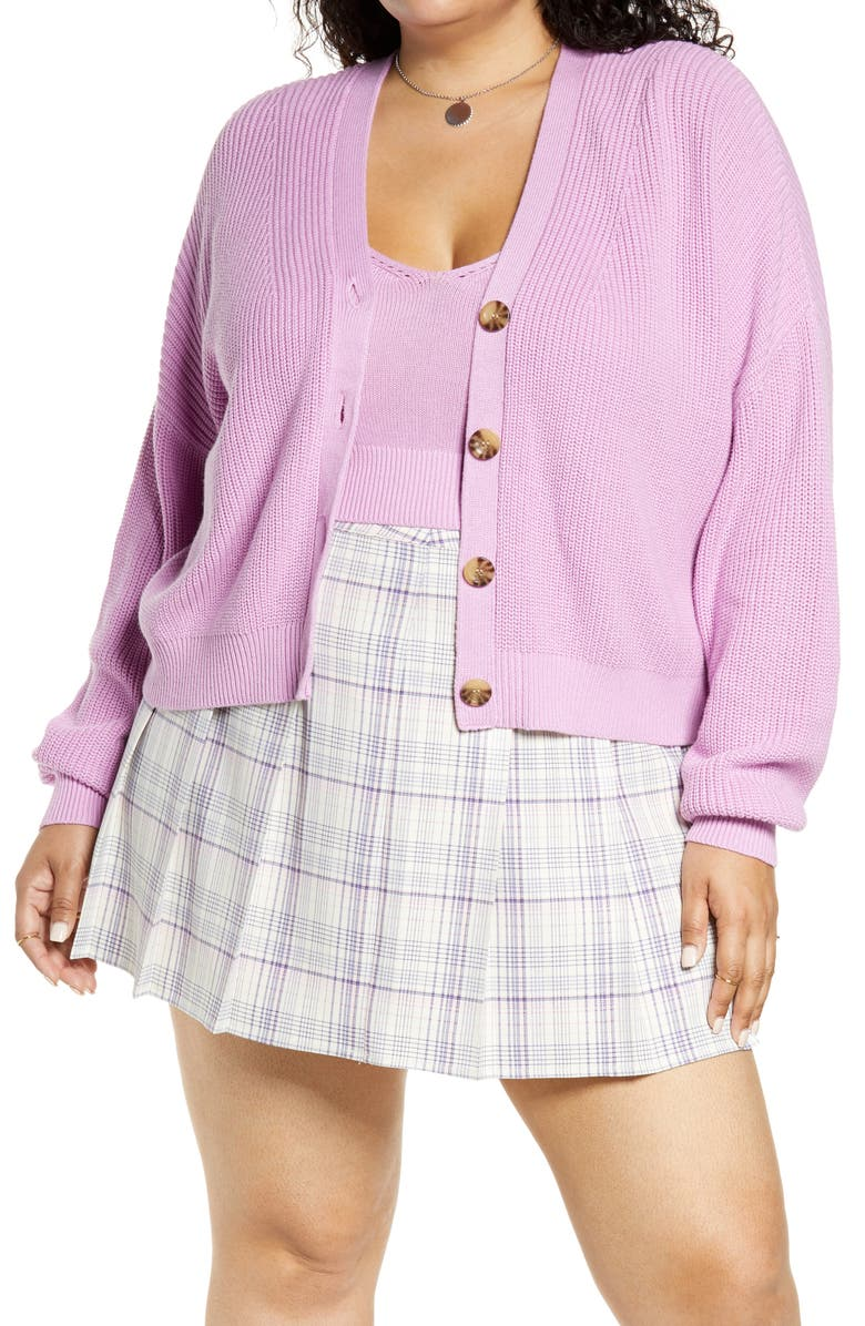 BP. Easy Button Front Cardigan, Main, color, PURPLE TULIP