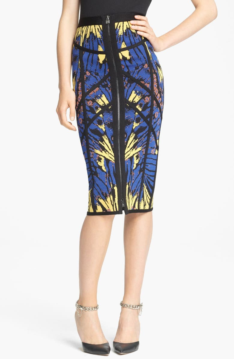 HERVE LEGER Butterfly Print Skirt, Main, color, 467