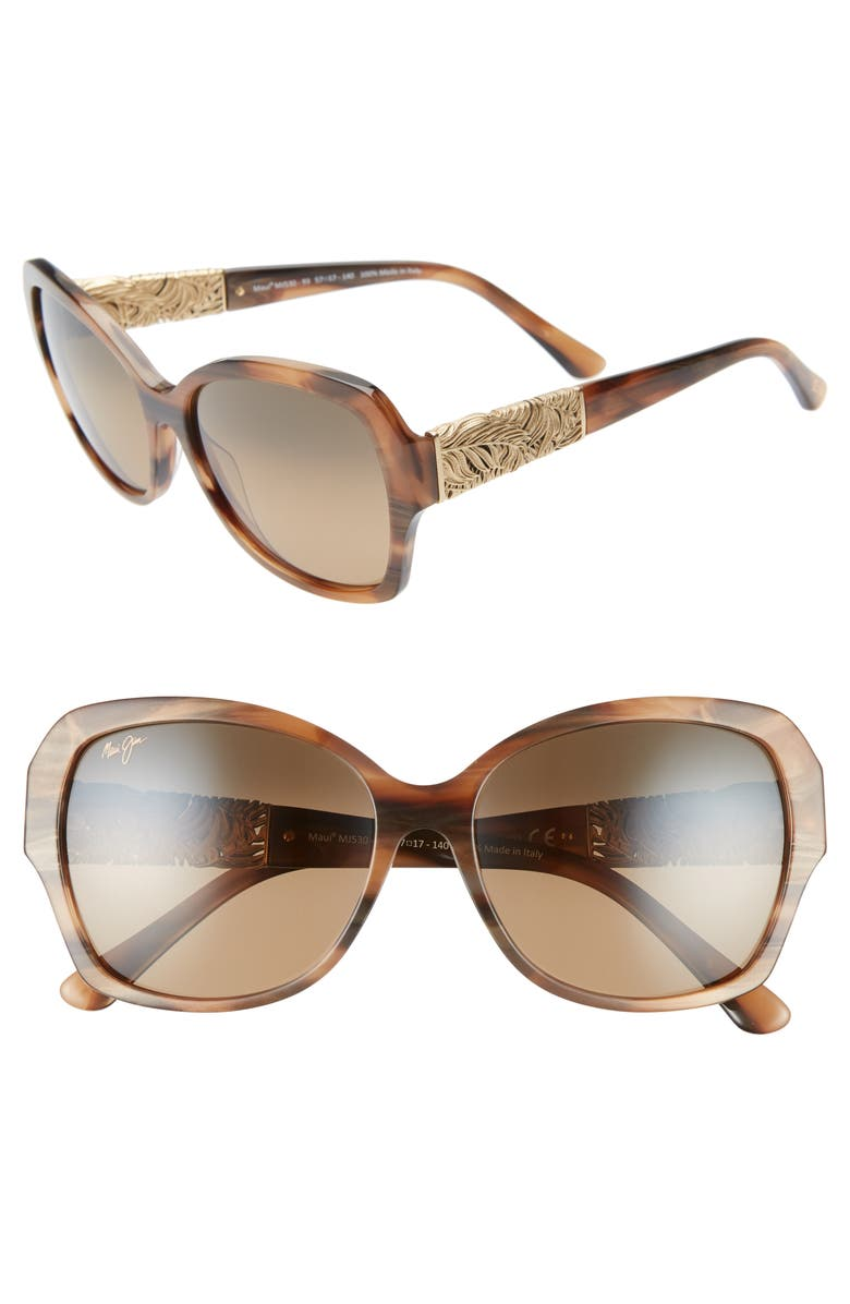 MAUI JIM Swaying Palms 57mm PolarizedPlus2<sup>®</sup> Butterfly Sunglasses, Main, color, BROWN AND PEARL/ YELLOW GOLD