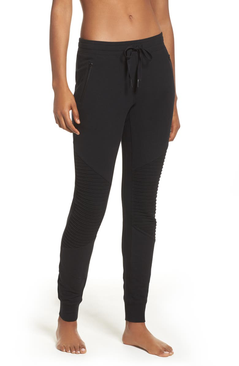 ALO Urban Moto Sweatpants, Main, color, BLACK