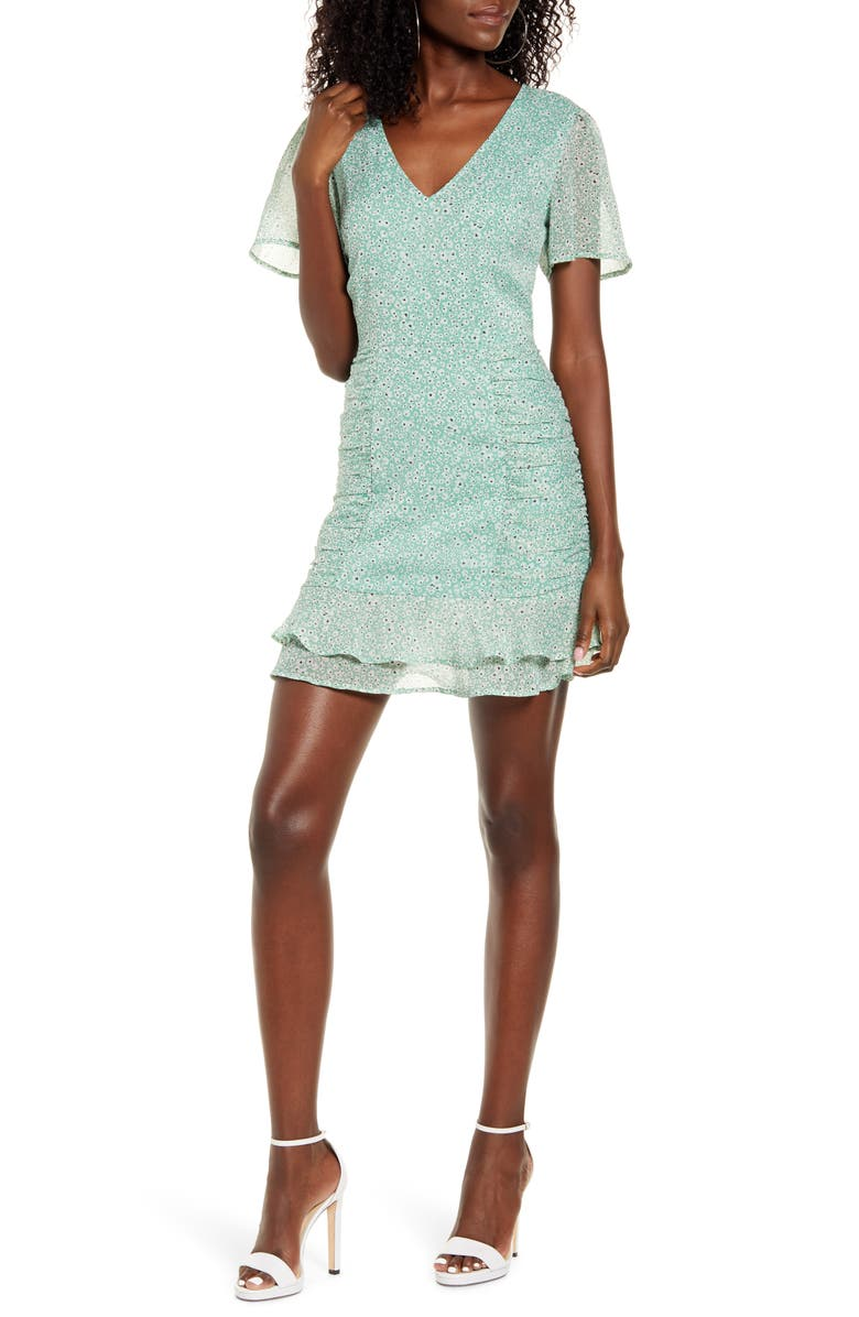 LEITH Chiffon Ruched Minidress, Main, color, 310