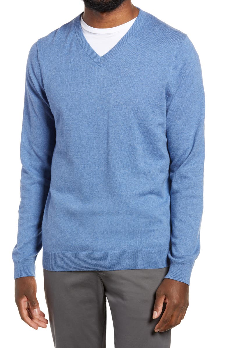 NORDSTROM Men's Shop Cotton & Cashmere V-Neck Sweater, Main, color, BLUE DUTCH HEATHER