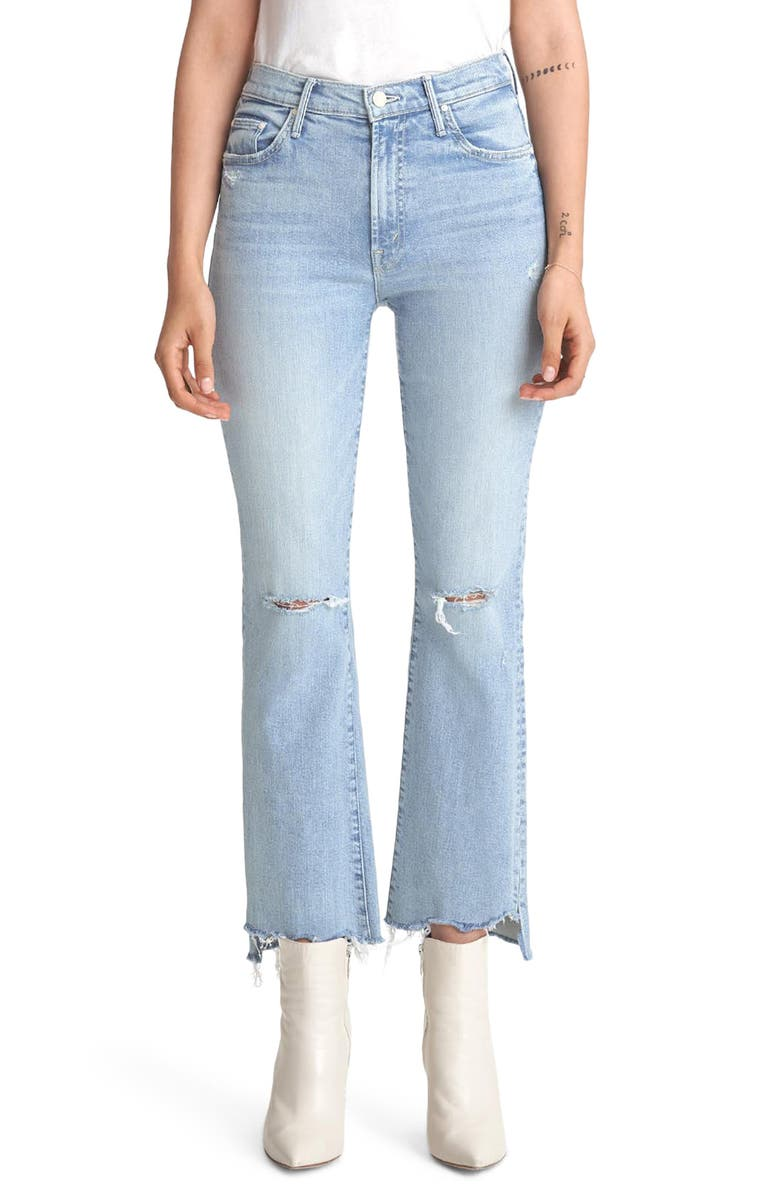 MOTHER The Insider Ripped Chew Hem Crop Bootcut Jeans, Main, color, 420