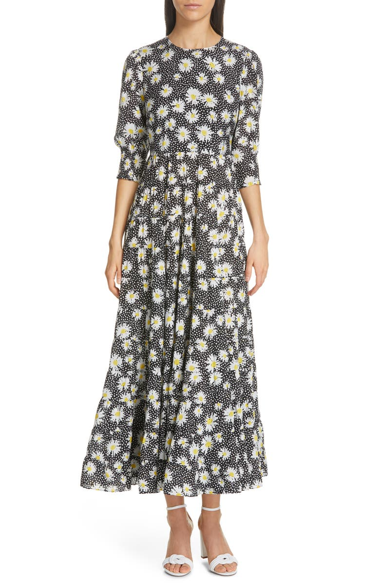 RIXO Kristen Floral Print Midi Dress, Main, color, 700