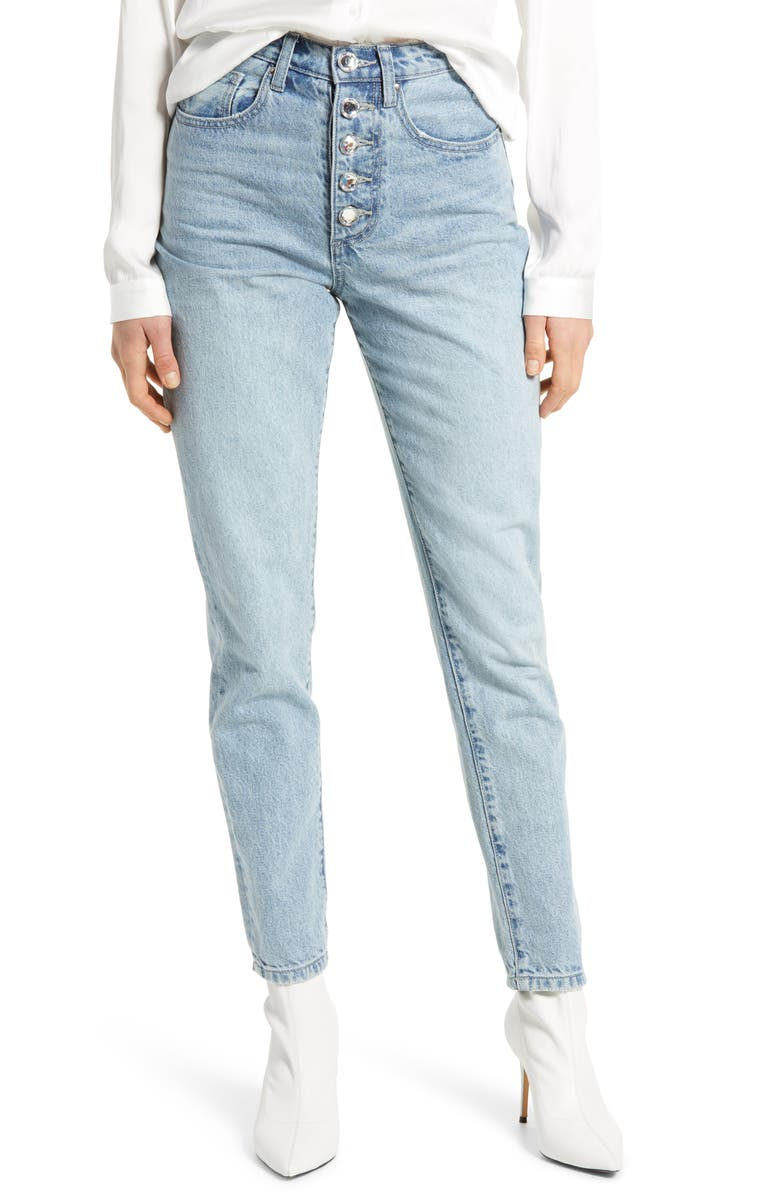 WE WORE WHAT The Danielle Crystal Fly High Rise Jeans, Main, color, STUDIO