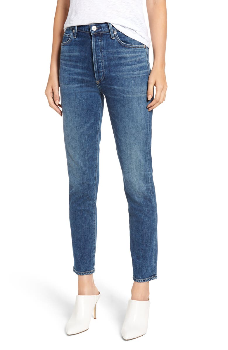 CITIZENS OF HUMANITY Olivia High Waist Ankle Slim Jeans, Main, color, 422