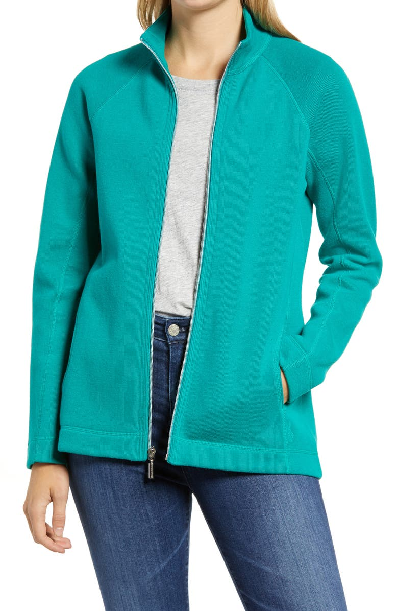 TOMMY BAHAMA New Aruba Zip Front Stretch Cotton Jacket, Main, color, EBB TIDE TEAL