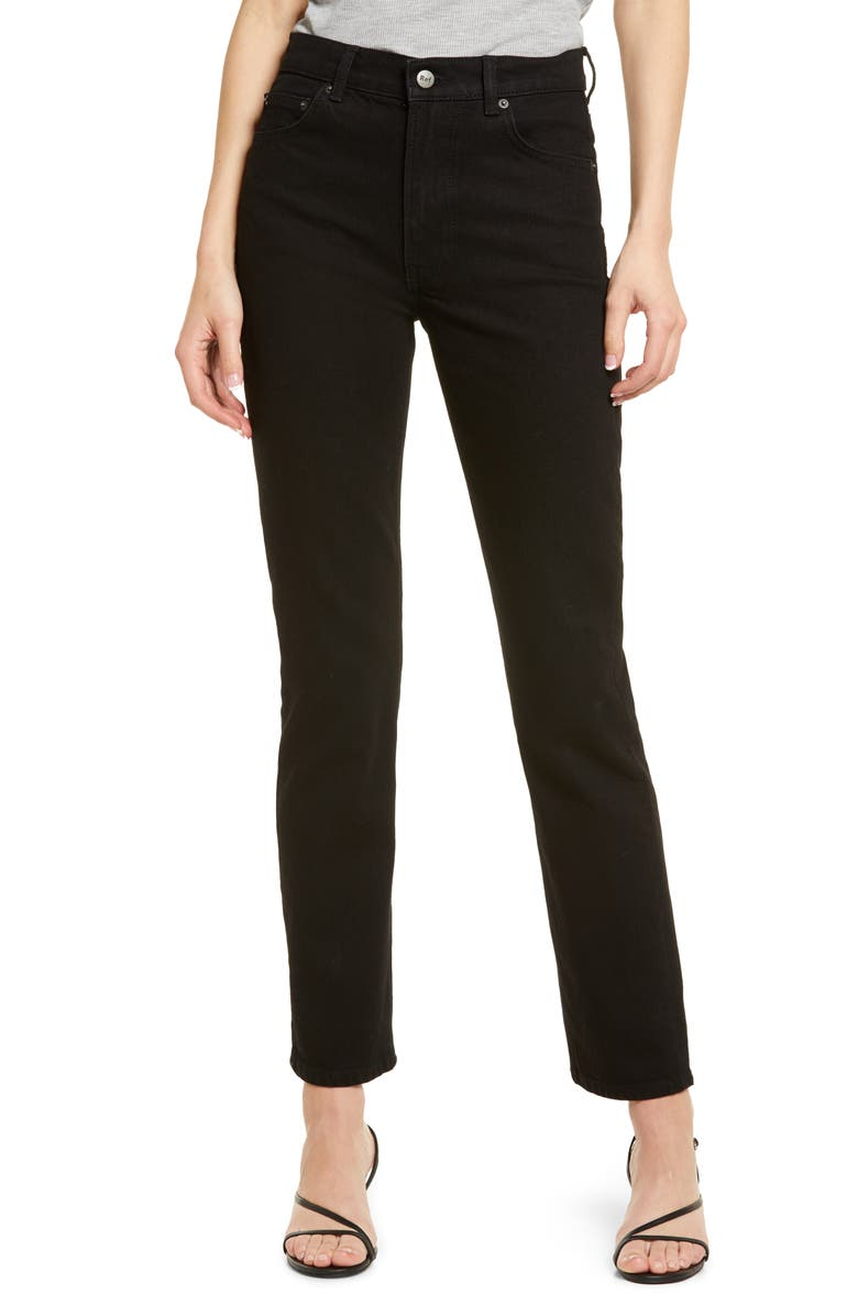 REFORMATION Liza High Waist Straight Leg Jeans, Main, color, BLACK