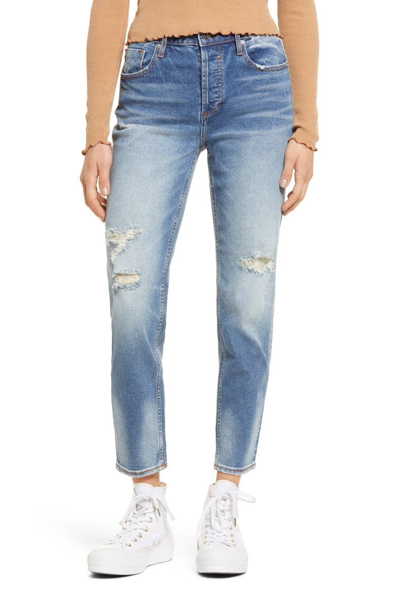 VIGOSS Frankie High Waist Distressed Ankle Straight Leg Jeans, Main, color, LIGHT WASH